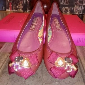 COACH wine patent leather Caper flats 6B